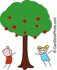 bambini giocando, albero, mela, sotto