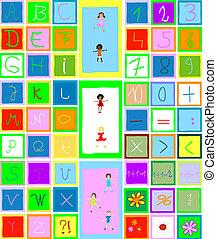 bambini giocando, alfabeto, numeri