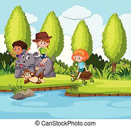 bambini giocando, animale, natura