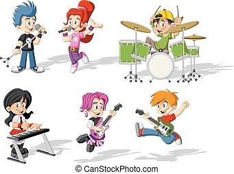 bambini giocando, cartone animato