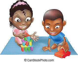 bambini giocando, due