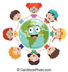 bambini giocando, gruppo, terra