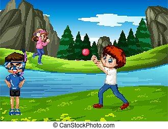 bambini giocando, parco, scena