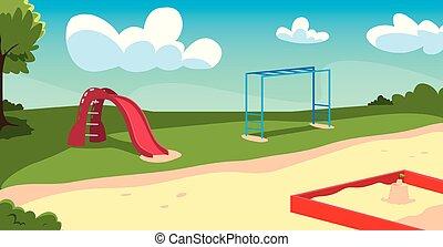 bambini, giochi, campo di gioco, esterno