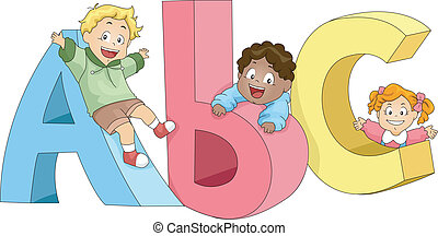bambini, gioco, abc
