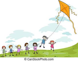 bambini, gioco, aquilone