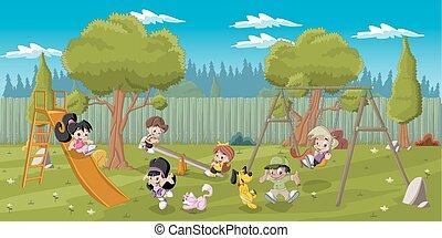 bambini, gioco, campo di gioco