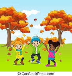 bambini, gioco, cartone animato, felice, fondo, autunno