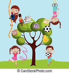 bambini, gioco, cartone animato