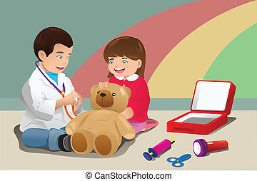bambini, gioco, dottore