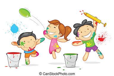 bambini, gioco, holi