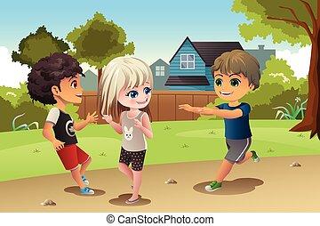 bambini, gioco insieme