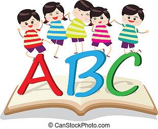 bambini, gioco, lettera, felice