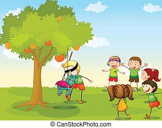 bambini, gioco, natura