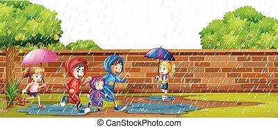 bambini, gioco, pioggia