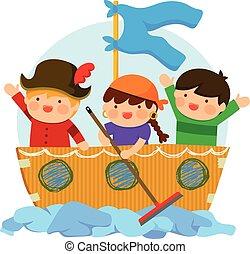 bambini, gioco, pirati