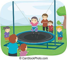 bambini, gioco, trampolino
