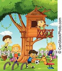 bambini, gioco, treehouse