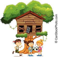 bambini, gioco, treehouse, infront