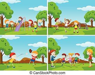 bambini, gruppo, campo di gioco, gioco