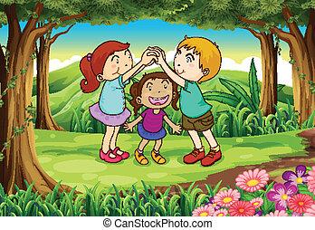 bambini, gruppo, gioco, giungla
