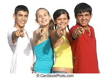 bambini, gruppo, indicare, diverso, adolescenti, o