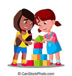 bambini, gruppo, isolato, illustrazione, multirazziale, insieme, vector., gioco
