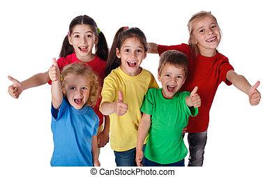 bambini, gruppo, su, pollici, segno