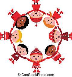 bambini, illustration., circle., vettore, sorridere felice, cartone animato, inverno