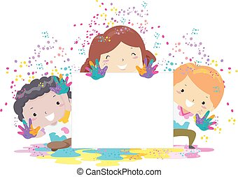 bambini, illustrazione, asse, holi, polvere