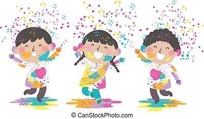 bambini, illustrazione, indiano, holi, polvere