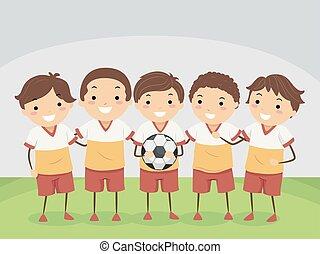 bambini, illustrazione, squadra, football, stickman, interno