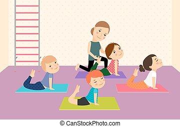 bambini, instructor., yoga