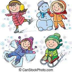 bambini, inverno