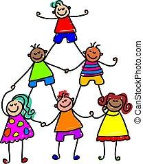 bambini, lavoro squadra