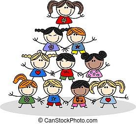 bambini, lavoro squadra, ethnicity