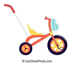 bambini, manico, triciclo, fondo., zaino, front., illustrazione, bicicletta, isolato, fronte, bianco, colorito, grande, control., ruota, vettore