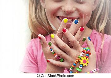 bambini, manicure, variopinto