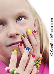bambini, manicure., variopinto