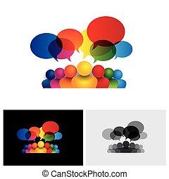 bambini, media, sociale, parlare, vettore, icona comunicazione, riunione, o, personale