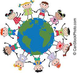 bambini, mescolato etnico