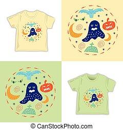 bambini, modello, infantile, halloween, seamless, illustrazione, vettore