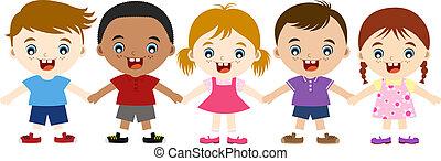 bambini, multicultural, carino