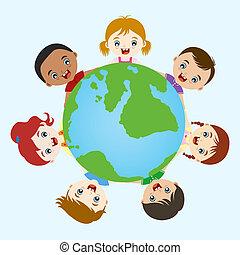 bambini, multicultural, mano
