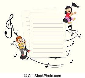 bambini, note, due, carta, musica, fondo, vuoto, sentiero per cavalcate