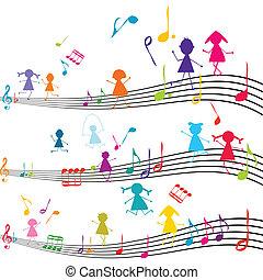 bambini, note, gioco, nota, musica, musicale