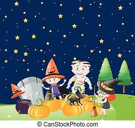 bambini, notte halloween