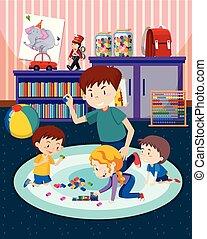 bambini, padre, gioco, giocattoli