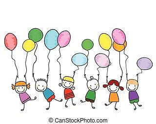 bambini, palloni, felice