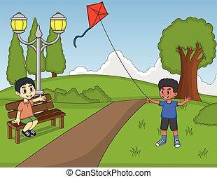 bambini, parco, gioco, cervi volanti